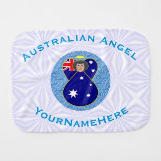 Paño Para Bebés Ángel australiano en el cuadrado Squiggly blanco y