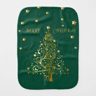 Paño Para Bebés Árbol de navidad metálico hermoso del oro en verde