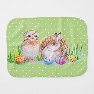 Paño Para Bebés Arte de Pascua del búho y del conejito