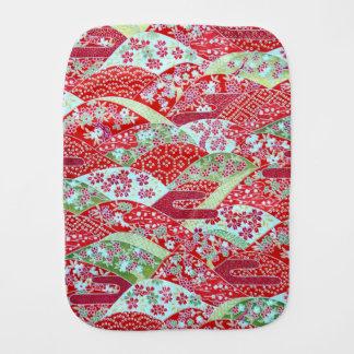 Paño Para Bebés Arte Origami floral rojo Yuzen de Washi del