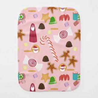 Paño Para Bebés Bastones y chocolates de caramelo en rosa