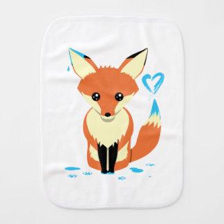 Paño Para Bebés Bebé del Fox que pinta el corazón azul con la cola