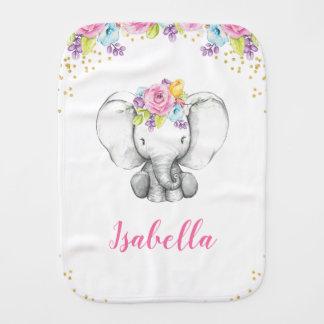 Paño Para Bebés Bebé personalizado elefante floral del chica de la