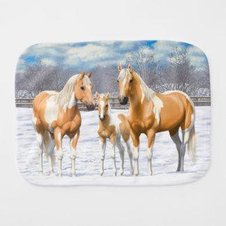 Paño Para Bebés Caballos de la pintura del Palomino en nieve