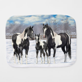 Paño Para Bebés Caballos negros de la pintura en nieve
