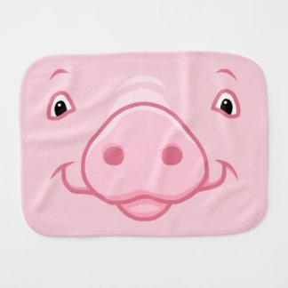 Paño Para Bebés Cara rosada feliz linda del cerdo