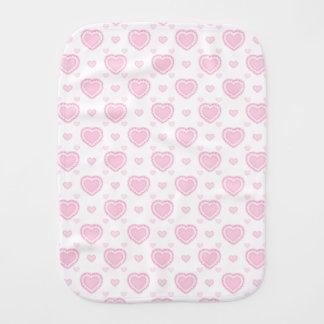 Paño Para Bebés Corazones rosados y blancos románticos