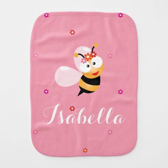 Paño Para Bebés Dibujo animado rosado femenino lindo de la abeja