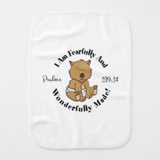 Paño Para Bebés Diseño del 139:14 de los salmos (Wombat)