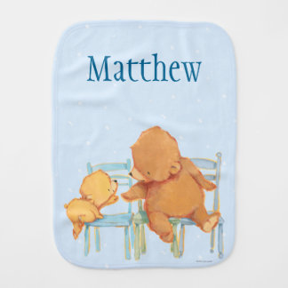 Paño Para Bebés El oso de Brown grande ayuda a poco oso amarillo