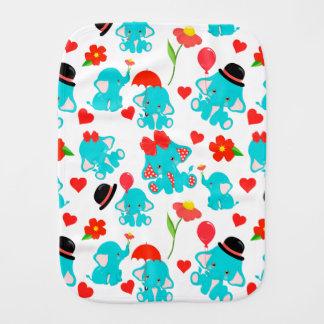 Paño Para Bebés Elefantes rojos lindos del bebé azul