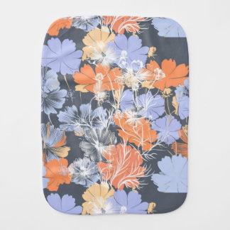 Paño Para Bebés Estampado de flores anaranjado violeta gris del