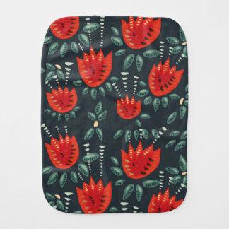 Paño Para Bebés Estampado de flores rojo abstracto decorativo de
