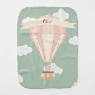 Paño Para Bebés Globo rosado del aire caliente personalizado