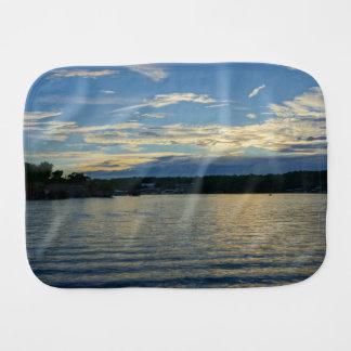 Paño Para Bebés Lago de la puesta del sol del azul de Ozarks
