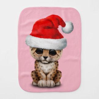 Paño Para Bebés Leopardo lindo Cub que lleva un gorra de Santa