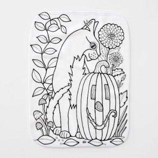 Paño Para Bebés Línea diseño de la calabaza del gato de la