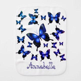 Paño Para Bebés Mariposas caprichosas elegantes del azul real