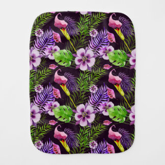 Paño Para Bebés Modelo tropical púrpura negro de la acuarela de la