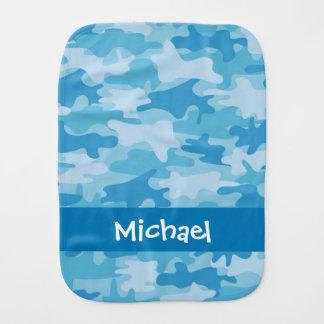 Paño Para Bebés Nombre azul del camuflaje de Camo personalizado