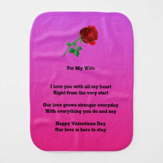 Paño Para Bebés Para mi poema del día de San Valentín de la esposa