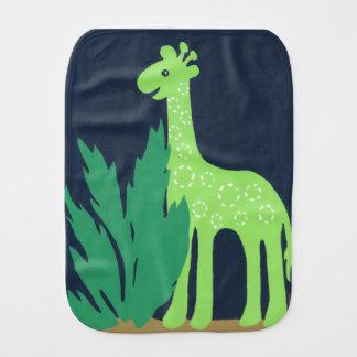 Paño Para Bebés Partido de la jirafa de la selva, verde y azul del