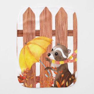 Paño Para Bebés racoon con el paraguas que camina por la cerca