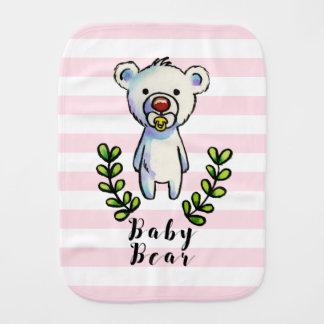 Paño Para Bebés Rayas del rosa del ejemplo de la acuarela del oso