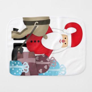 Paño Para Bebés Santa y su reno con los regalos