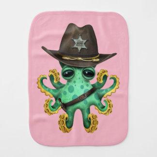 Paño Para Bebés Sheriff verde lindo del pulpo del bebé