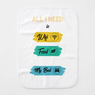 Paño Para Bebés Toda lo que necesito es comida de Wifi y mi cama