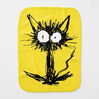 Paño Para Bebés Verde amarillo del gato del susto