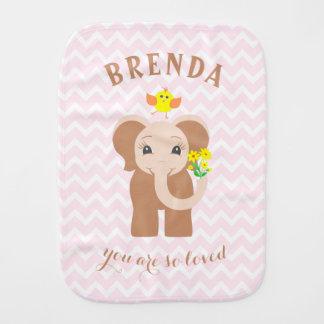 Paño rosado del Burp del elefante del bebé de