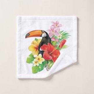 Paño tropical del lavado del collage de Toucan