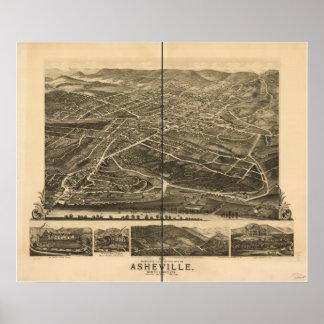 Panorama antiguo de Asheville Carolina del Norte 1 Impresiones