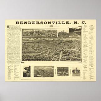 Panorama antiguo de Hendersonville N. Carolina 191 Posters