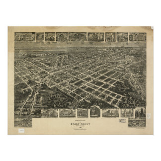 Panorama antiguo del soporte N. Carolina 1907 roco Poster