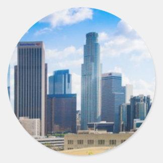 Panorama de Los Ángeles Etiquetas Redondas