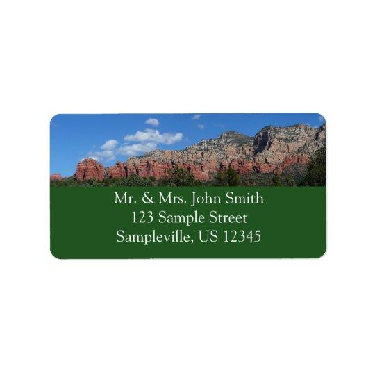 Panorama de rocas rojas en Sedona Arizona Etiqueta De Dirección