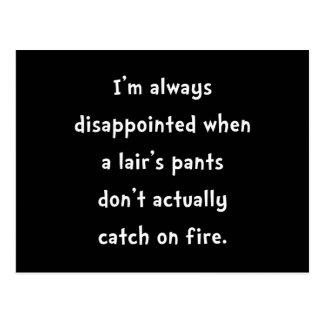 Pantalones del mentiroso en el fuego postal