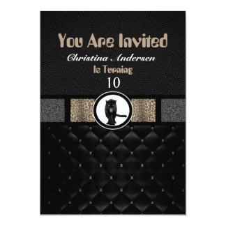 Pantera de lujo del estampado de animales invitación 12,7 x 17,8 cm