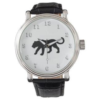 Pantera negra en blanco reloj