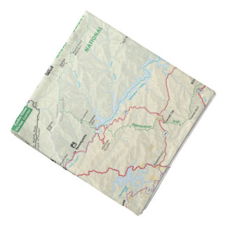 Pañuelo del mapa de Great Smoky Mountains Bandana