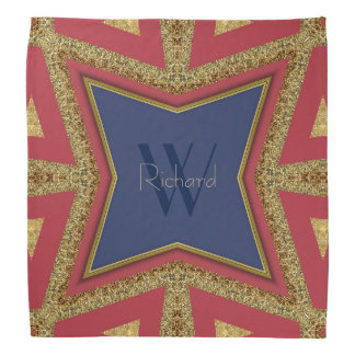 Pañuelo del monograma del brillo del oro del azul bandana