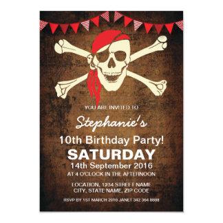 Pañuelo del pirata que golpea personalizado rojo invitación 12,7 x 17,8 cm