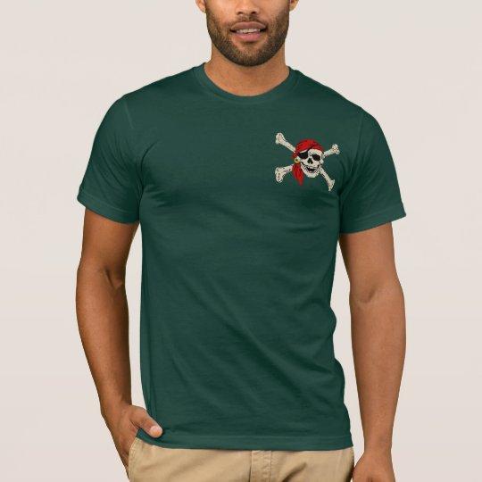 Pañuelo del rojo del cráneo del pirata camiseta