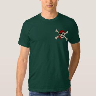 Pañuelo del rojo del cráneo del pirata camisetas