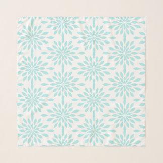 Pañuelo Diseño geométrico elegante, aguamarina en blanco