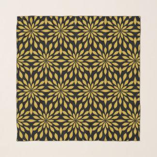 Pañuelo Diseño geométrico elegante, oro en negro