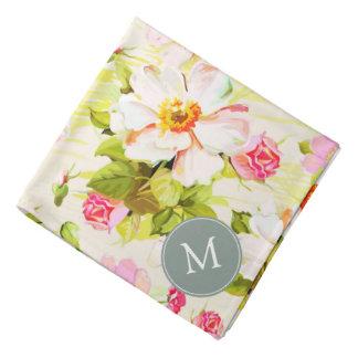 Pañuelo floral del monograma de los Peonies de los